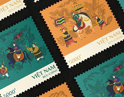 """Vinh quy bái tổ"" - Vietnamese postage stamps"