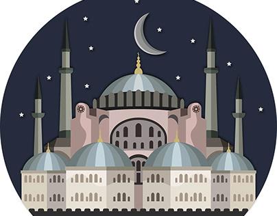 Hagia Sophia Mosque Illustration