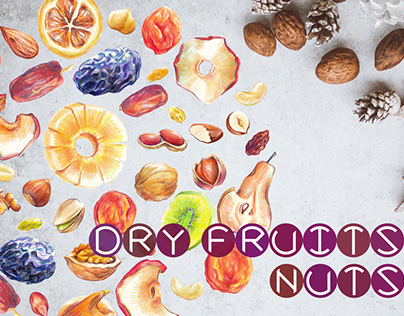 Dry Fruit & Nut Set made with Colored Pencils