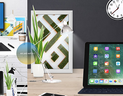 Home office desk Scene Creator - Mockup .psd
