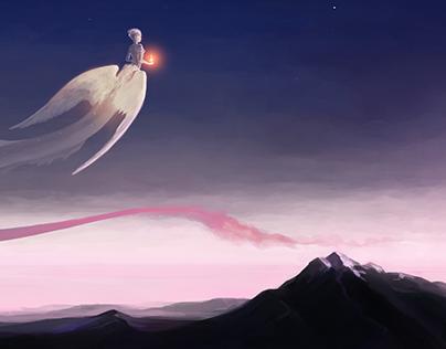 Sketch of dawn and goddess Aurora.