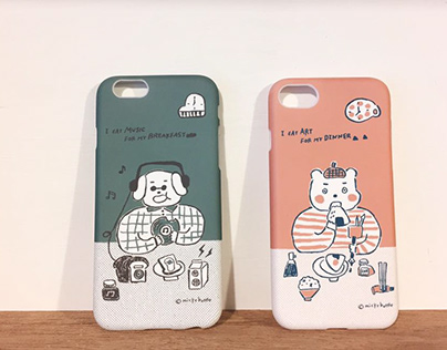 Phone case design:Musician dog & Artist bear 音樂狗與藝術熊手機殼