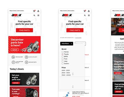 Amex Auto E-commerce mobile website