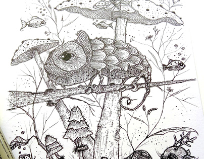 Chameleon from my 'Magic Forest' series. Ink on paper.