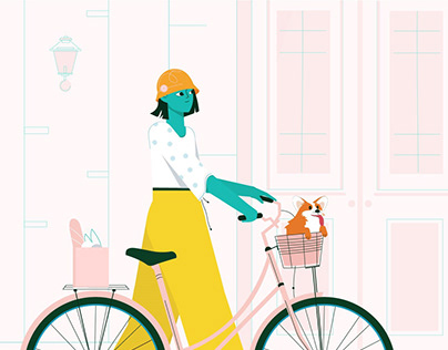 Riding a bike with dog | animation