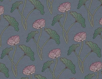 Textile Designs of Lotus and Camellia