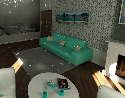 "Room in modern style , with the color theme of ""Rio """
