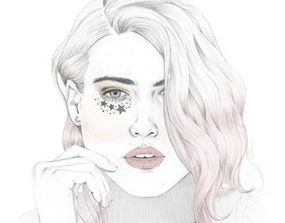 Reach for the moon, beauty portrait illustration