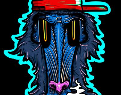 Vector Illustration - Mandrill Monkey
