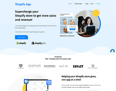 A website UI for a Shopify Saas app product.