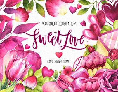 Sweet Love - set of watercolor illustrations