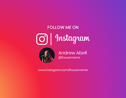 Follow me on instagram background in gradient