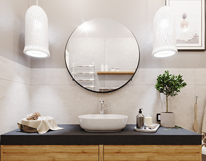 Bathroom with an emphasis on naturalness