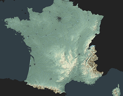 Topographic relief of France