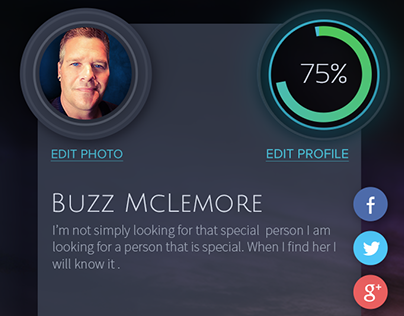 Dating personal summary screen