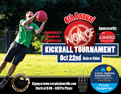 4th Annual KICK CF Kickball Tournament AD and logo