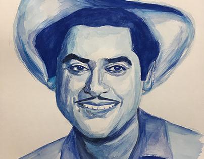 Watercolour Portrait - Kishore Kumar