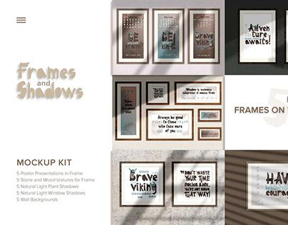 Realistic Frames Mockups with Natural Light Shadow