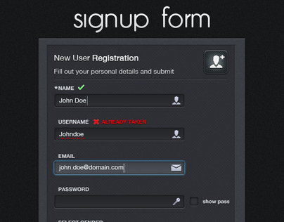 Register, Login and Recover Password Boxes