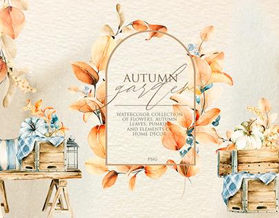 Autumn garden. Watercolor fall collection