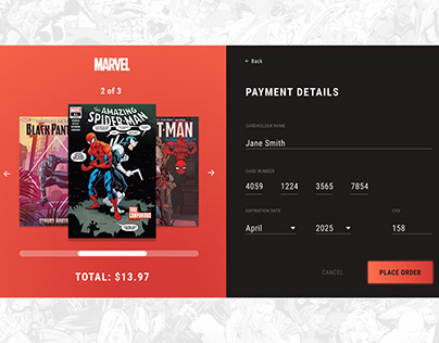 Marvel Checkout Page