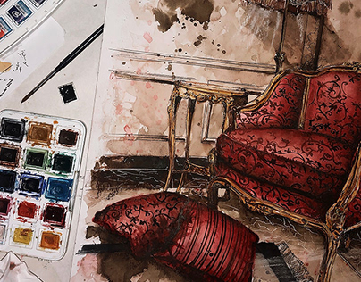 INK & WATERCOLOR - Louis XV Bergere Armchair