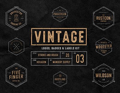 Vintage Badges Vol. 3 - Hexagon Collection