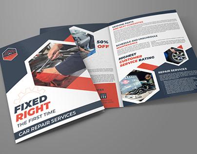 Car Repair Workshop Bi-Fold Brochure Template