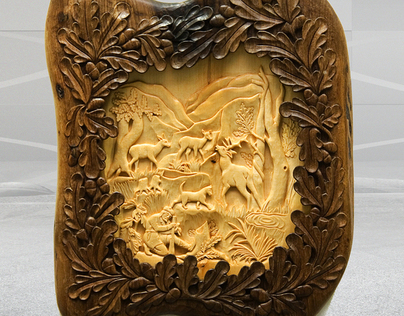 Hunting Scene wiht deer and dogs Wall Art Wood carving on Behance