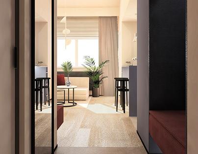 Wizualizacje wnętrz mieszkania z antresolą