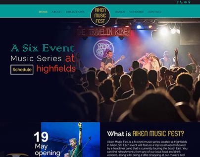 Aiken Music Fest website mockup