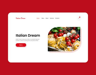Landing Page for Italian Dream restaurant