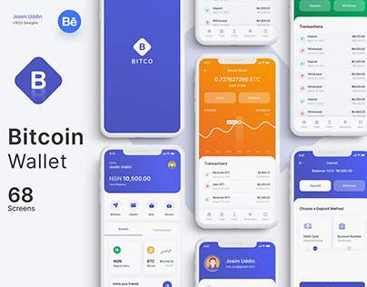 Bitcoin Wallet IOS Mobile app UI Kit