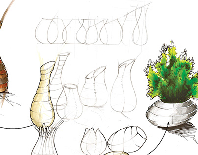Roll Up - leather flower pot concept