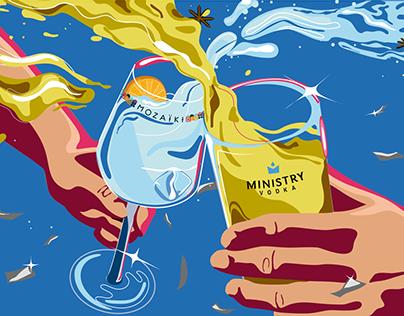 Brinde Mozaiki Gin e Vodka Ministry - Ilustração