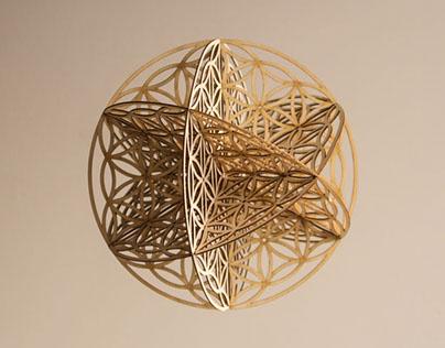 geometry: flower of life 3D - wood