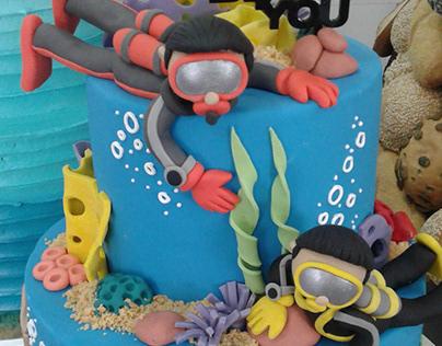 underwater theme cake