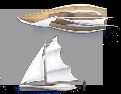 Art Nouveau Sailboat 2D