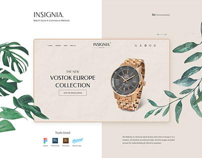 Insignia Watch Store website UI/UX Design