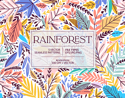 RAINFOREST vector seamless pattern