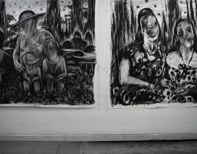 Inside the studio - Charcoal Drawings