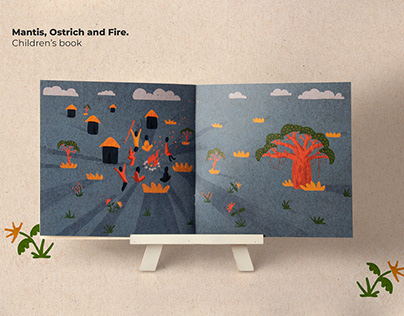 Mantis, Ostrich and fire Children's book illustrations