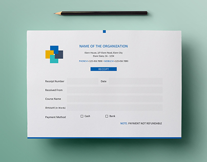 Free Simple A5 Landscape Invoice / Money Receipt Design