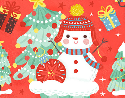 Vintage Snowman Christmas Pattern Design