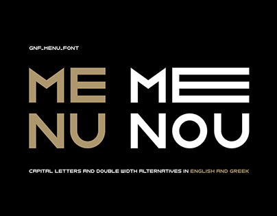 GNF Menu typeface, a Bold, Display Double width font