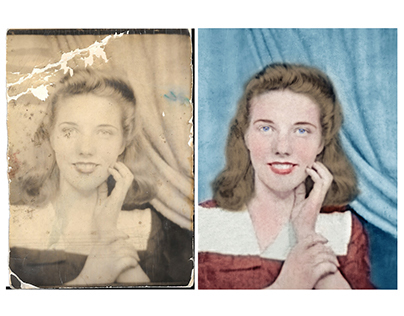 Restoration and colorisation of a damaged photograph