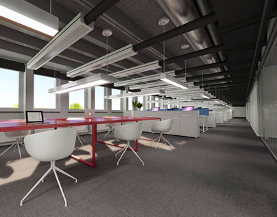 one Panoramic rendering for a office space