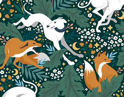 Fox and Hound Pattern design and Illustration