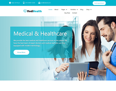 Landing Page for the Health care Website.