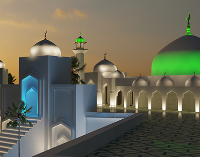 Mosque of Police, Exterior Decorative Lighting Building